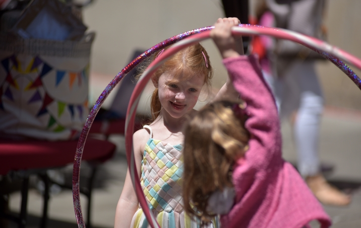 The hula hoops were a hit. Photo: Carl Glassman/Tribeca Trib