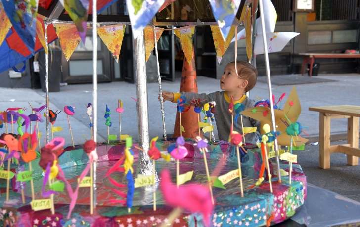 A carousel decorated by Church Street pre-schoolers. Photo: Carl Glassman/Tribeca Trib