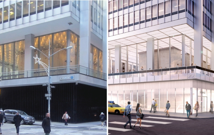 "At left, the existing black granite base of One Chase Manhattan Plaza at the corner of Liberty and William and, right, the proposed glass storefronts and entrances for that corner. The current base, 18 feet high at this corner, ""is not enlivening the street and is not welcoming its neighbors to the plaza,"" SOM architect Frank Mahan told CB1.  Photo and rendering: Skidmore, Owings & Merrill"