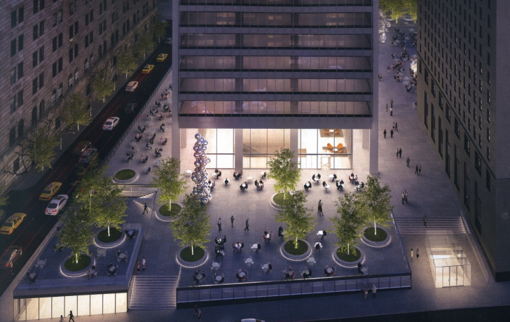 Proposed plaza lighting would create a glow at the base of the building and at the Naguchi Courtyard (mostly hidden in this image by 20 Pine Street building at right.) Trees are proposed to be uplit. Rendering: Skidmore, Owings & Merrill