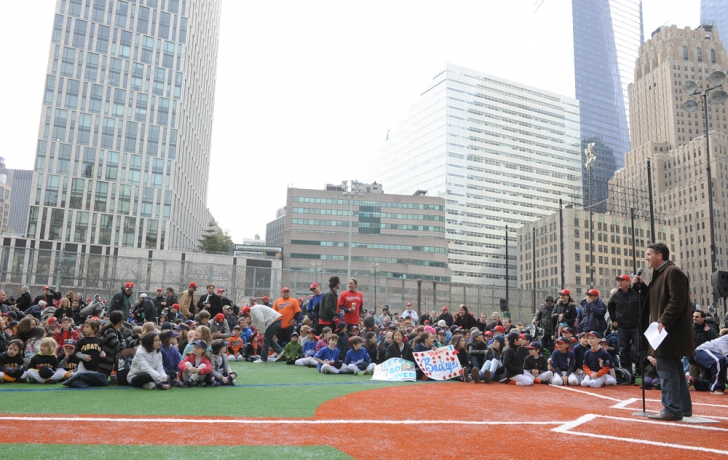"""Little League president Bill Martino tells the crowd, """"It's very important that we honor these fields."""" Carl Glassman/Tribeca Trib"""