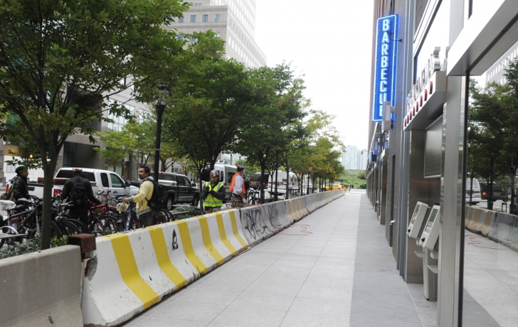 Concrete barriers were placed along Vesey Street. Carl Glassman/Tribeca Trib