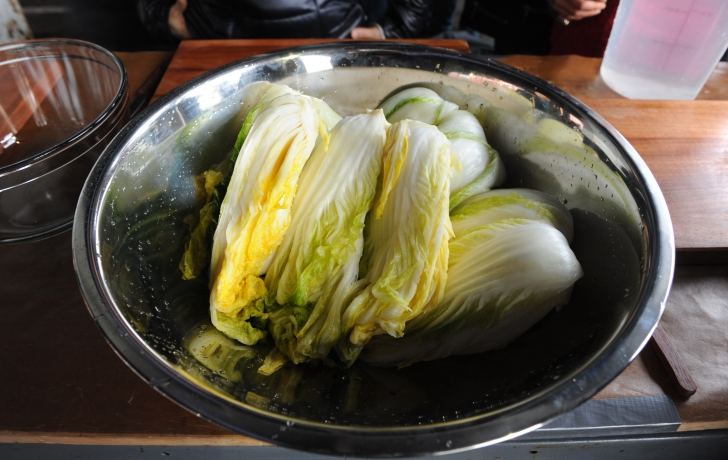 The base of kimchi: brined cabbage.