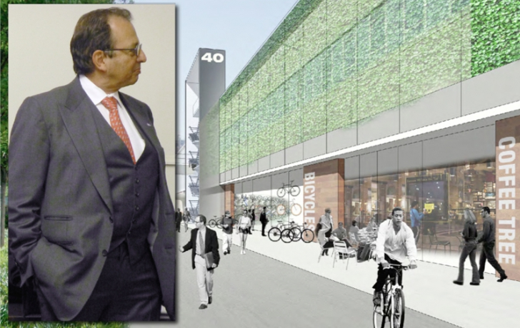 """Douglas Durst at the presentation of his concept for the """"adaptive reuse"""" of Pier 40 and a rendering of the reimagined Pier 40 facade. Rendering by Dattner Architects; Photo of Durst by Carl Glassman/Tribeca Trib"""