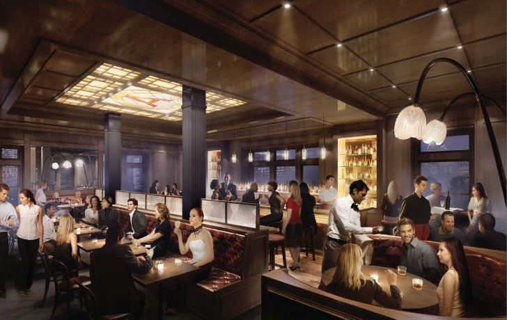 """The second floor's """"east restaurant,"""" specializing in meat dishes, will be the pier's most expensive restaurant. It will have a stained-glass ceiling and give diners views of the World Trade Center to the northeast and the Statue of Liberty to the south. Courtesy of Green Light Architecture."""