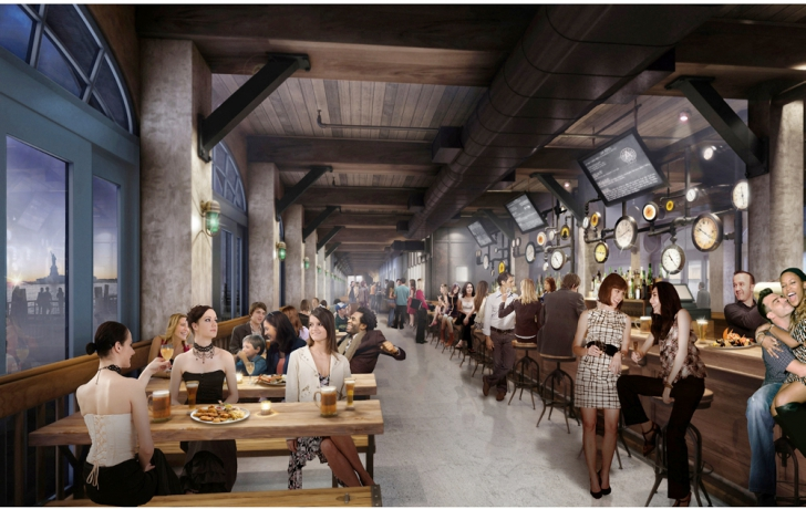 """Rendering of the first-floor """"pier shed restaurant,"""" with harbor views. Some of the furniture will be made of wood salvaged during the pier's reconstruction. Diners will be able to watch the food being prepared from bays looking into the restaurant's kitchen. Courtesy of Green Light Architecture."""