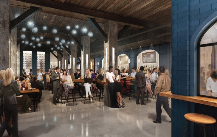 Rendering of the first-floor oyster bar, on the building's western end. Courtesy of Green Light Architecture.
