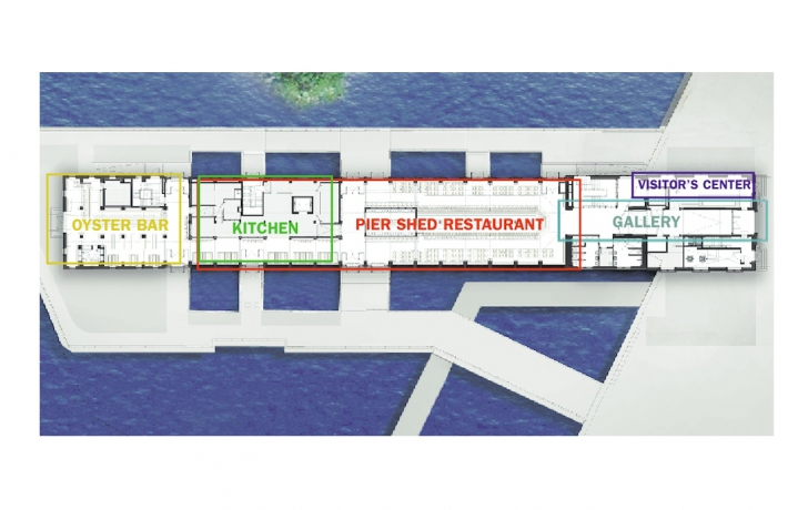 """An oyster bar with waterfront views will occupy the western end of the building and a """"pier shed"""" restaurant will also serve mostly seafood. Also on the first floor, a visitor center and gallery featuring historical photos and information on the pier and surrounding area. Rendering: Green Light Architecture/Tribeca Trib"""