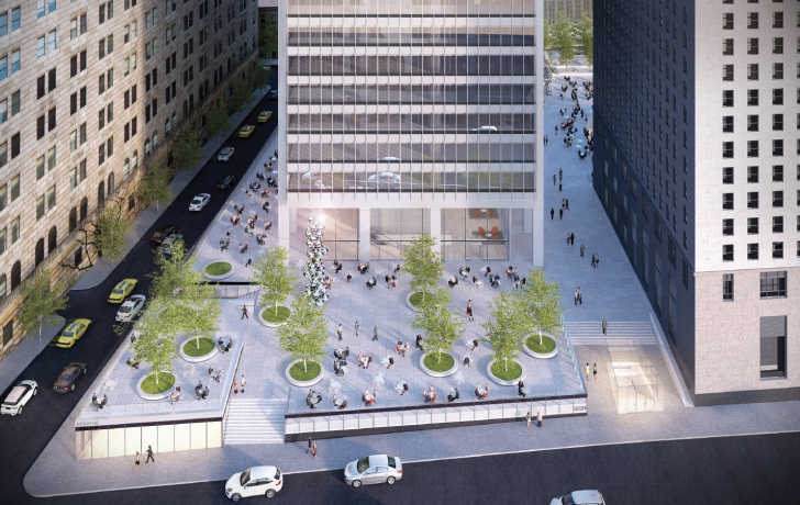 "The proposed west plaza. A new sculpture, by whom SOM architect Frank Mahan said will be an ""A-list"" artist, will be placed there. The piece would be positioned as a focal point for people entering the plaza from two new entrances. Rendering: Skidmore, Owings & Merrill"