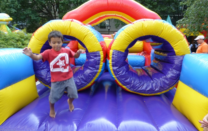 The upper level of the plaza was filled with fun places to play, sponsored by Manhattan Youth.