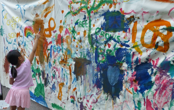 "Church Street School for Music and Art provided a very large ""canvas"" for children to add color touches of their own."
