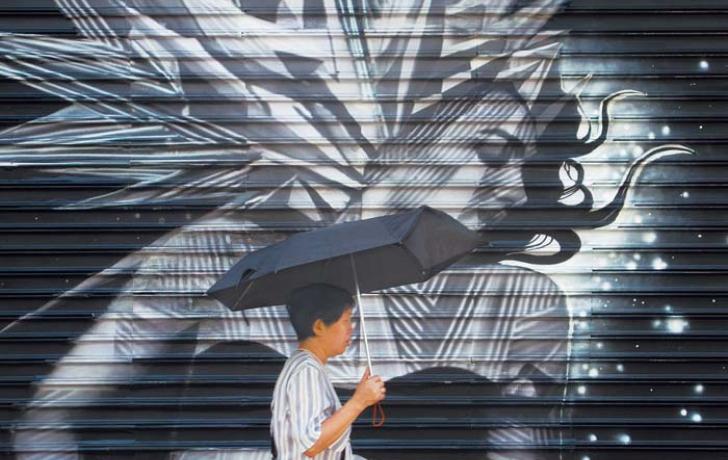 Umbrella Woman, South Street Seaport