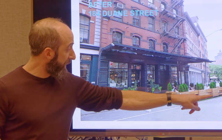 David Steingard Co Owner Of Laughing Man Coffee With Actor Hugh Jackman Explains His Proposal To Expand The Stores Street Seats CB 1s Licensing And